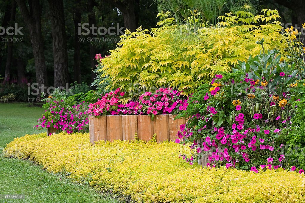Landscaped Garden with Raised Planters stock photo