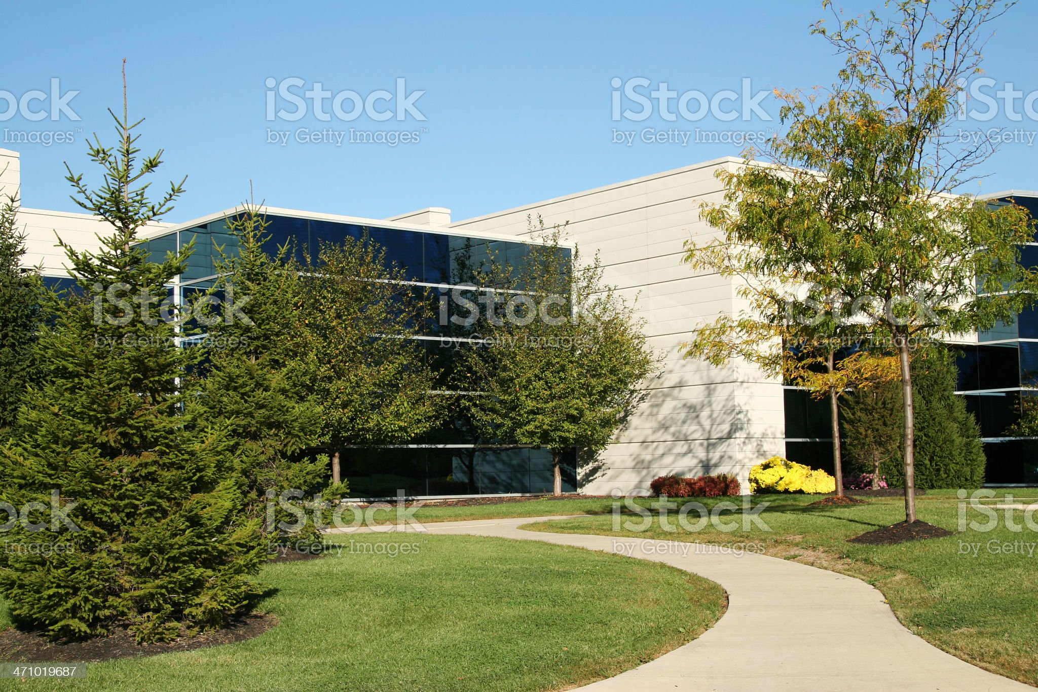 Landscaped Sidewalk To Business Building royalty-free stock photo