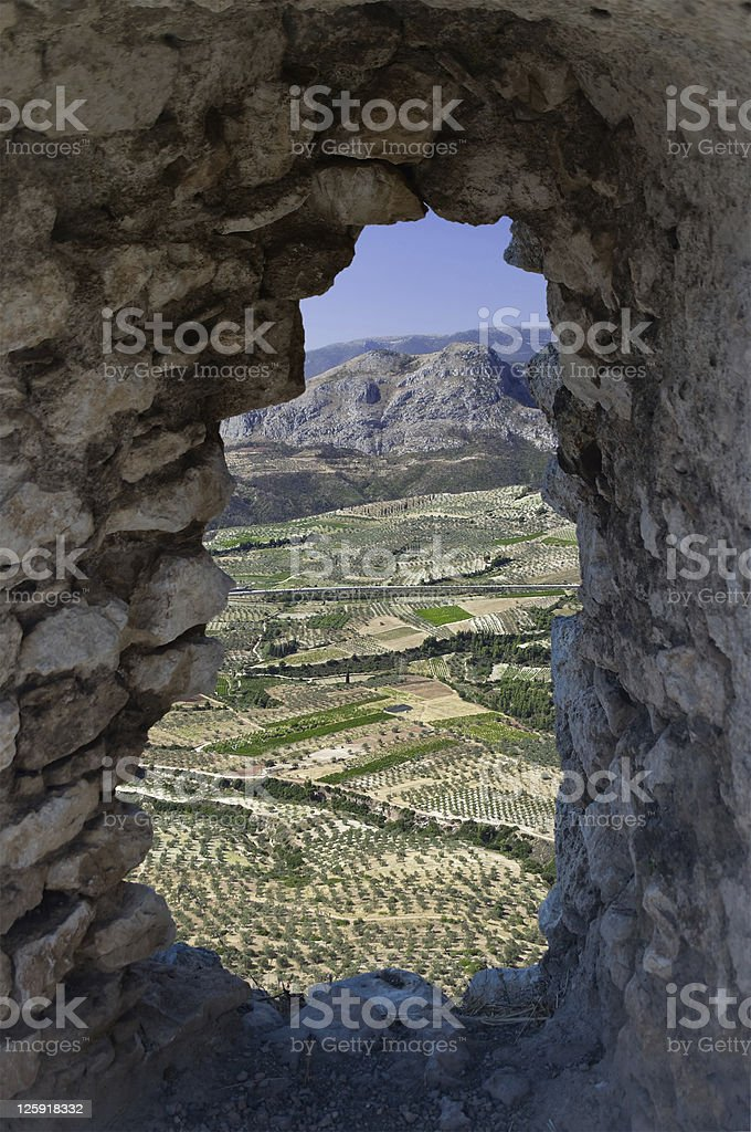 landscaped through a hole royalty-free stock photo