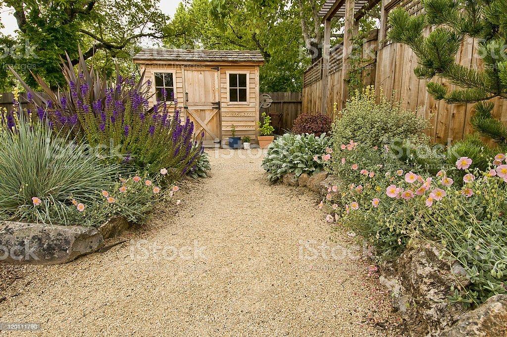 landscaped yard stock photo