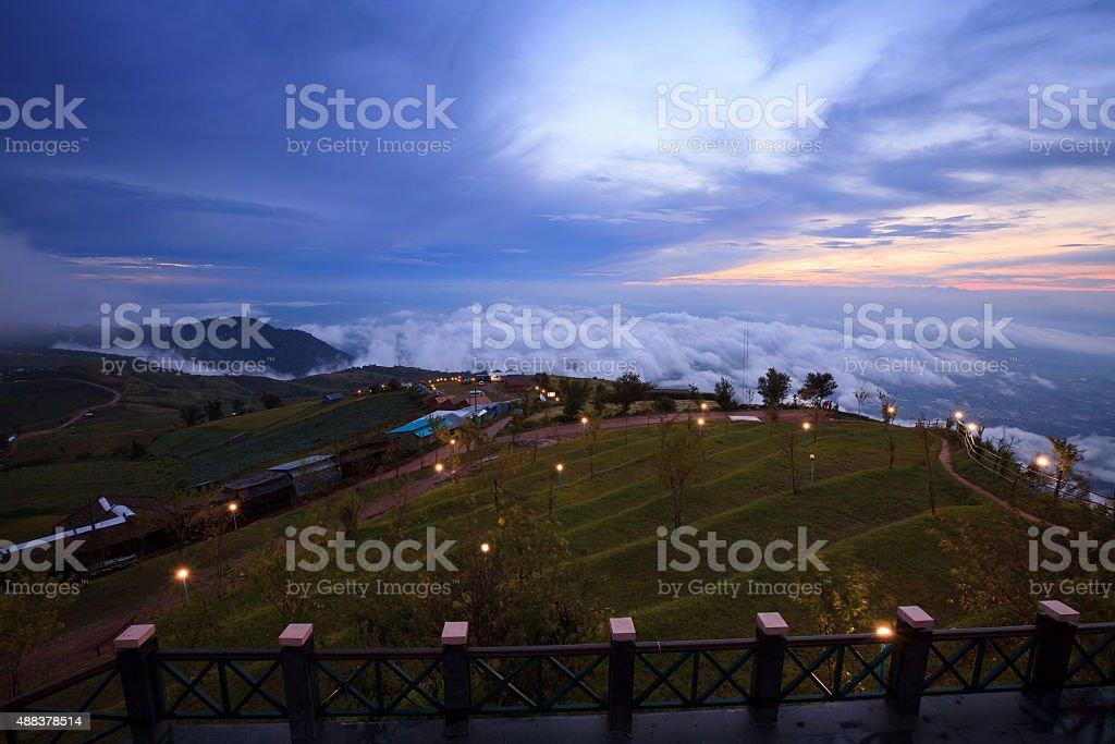 Landscape,Misty morning sunrise in Phutabberk Phetchabun stock photo