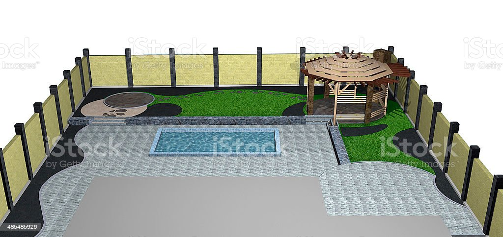 Landscaping backyard pool and arbor isometric view, 3D render stock photo
