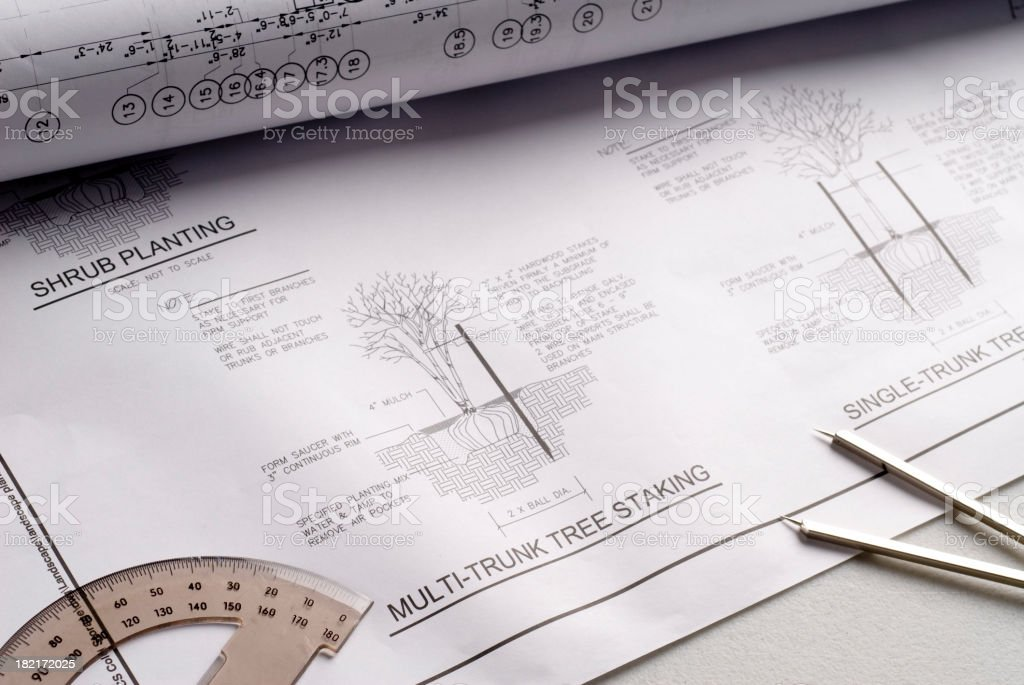 Landscaping Blueprints royalty-free stock photo