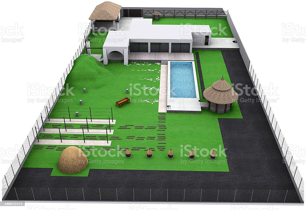 Landscaping country style backyard aerial view, 3D render stock photo