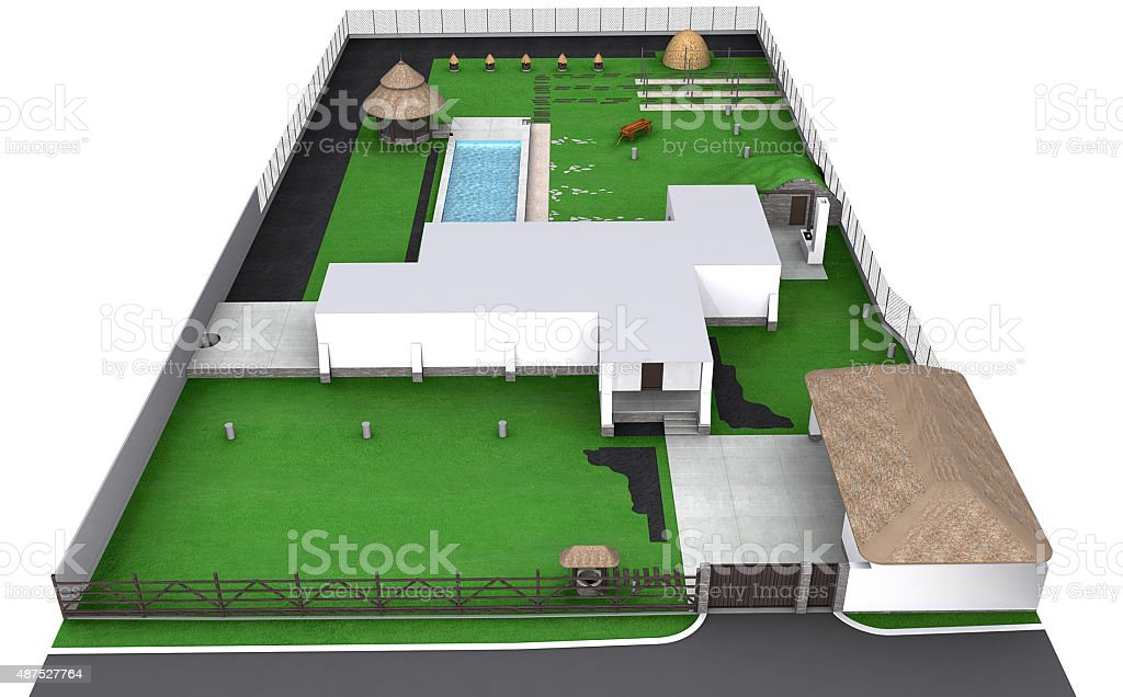 Landscaping country style front yard aerial view, 3D render stock photo