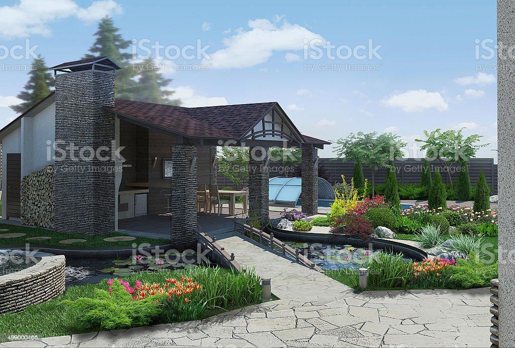 Landscaping decorative pond and garden pavilion, 3D render stock photo