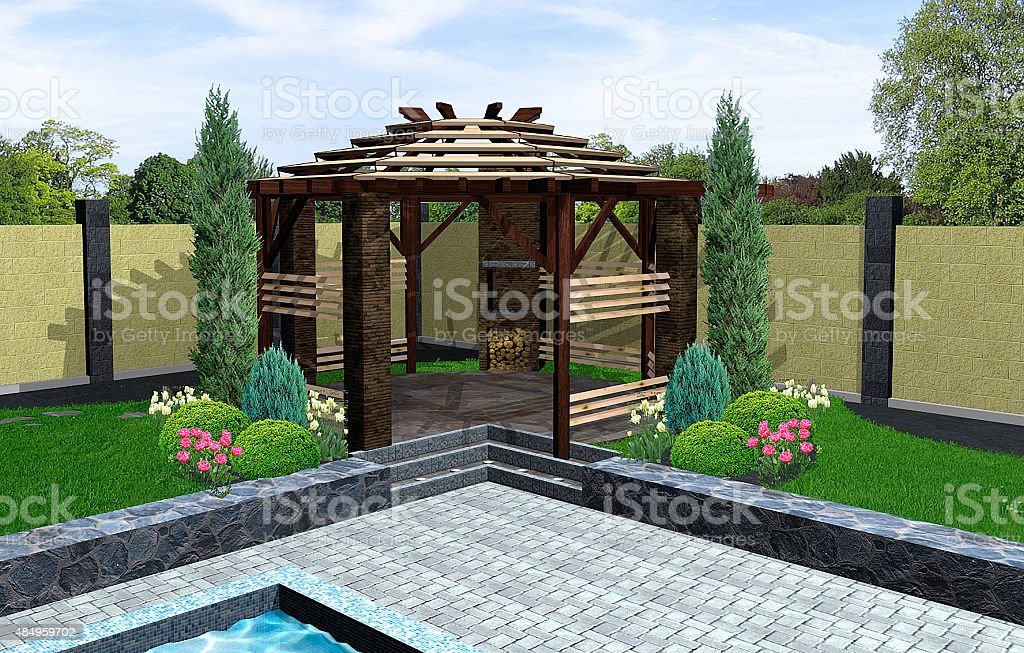 Landscaping front yard, 3D render stock photo