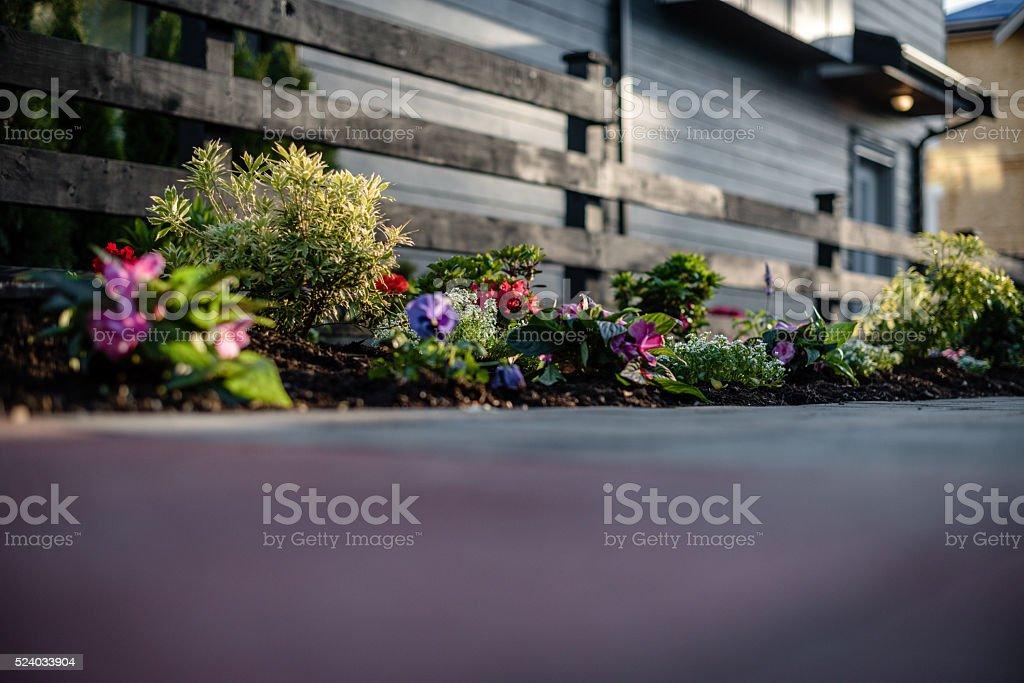 Landscaping gardening patio townhouse stock photo