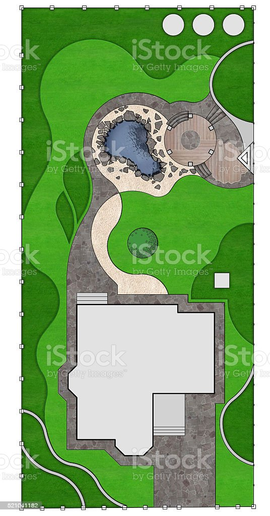 Landscaping master plan, 2d sketch stock photo