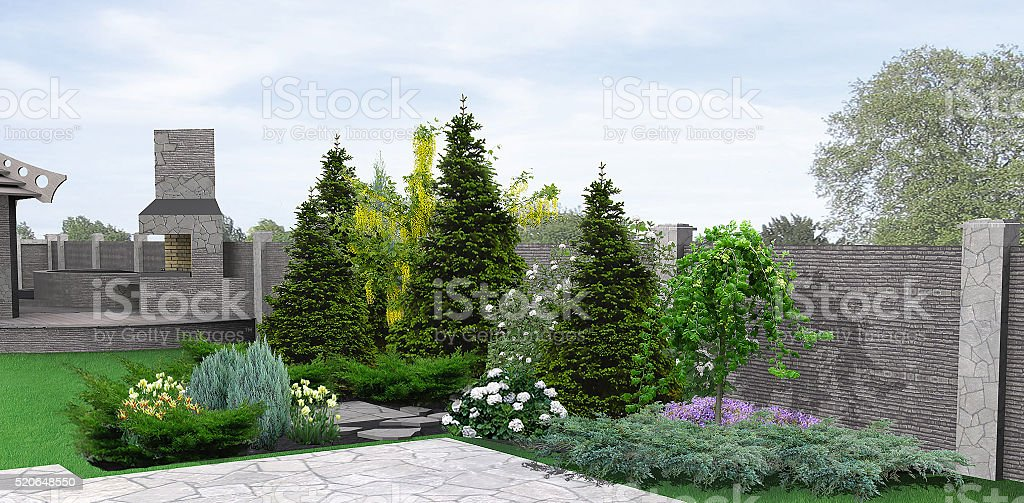 Landscaping planting of greenery, 3d rendering stock photo