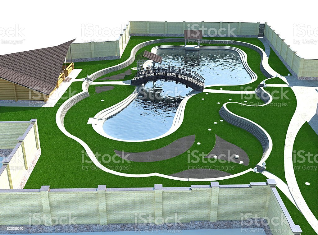 Landscaping pond and forged bridge Isometric view, 3D render stock photo