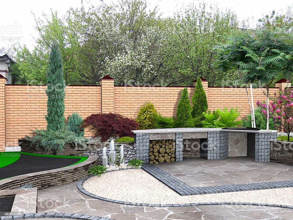 Landscaping recreational space, 3D render integrated into environment stock photo