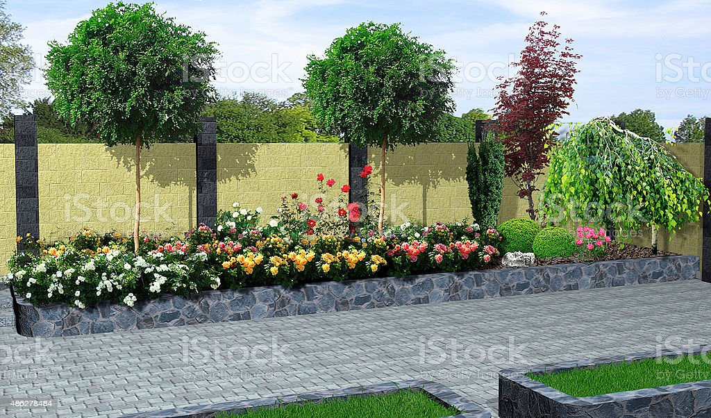 Landscaping roses and plant groupings, 3D render stock photo