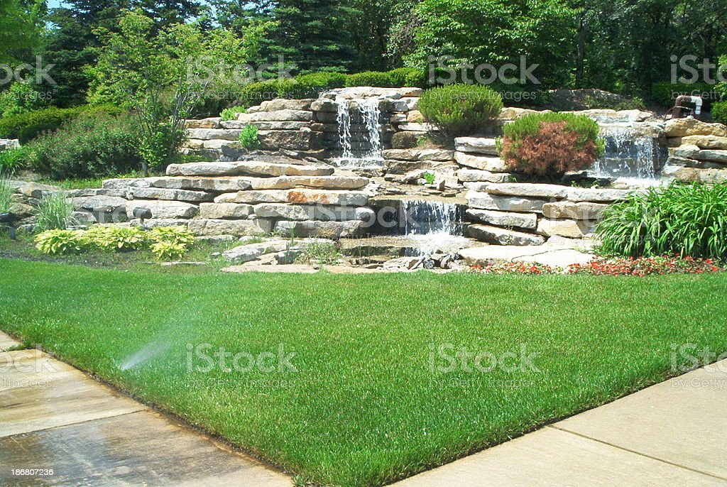 Landscaping - water fall royalty-free stock photo