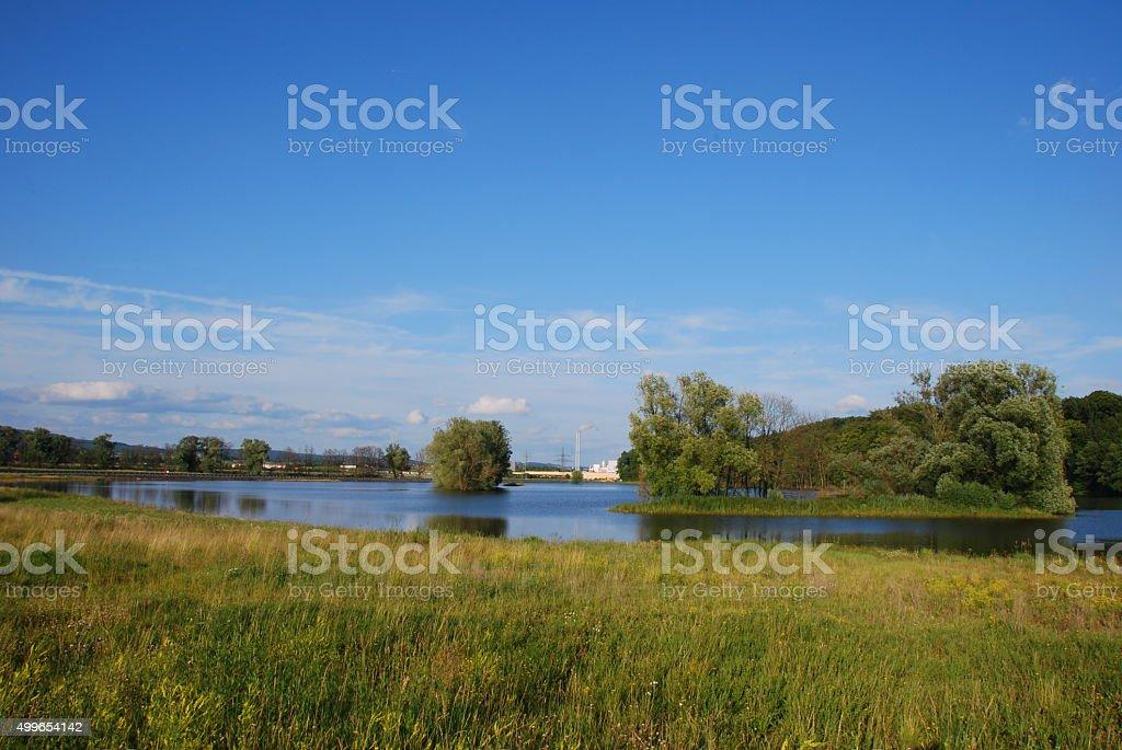 Landschaft mit See stock photo