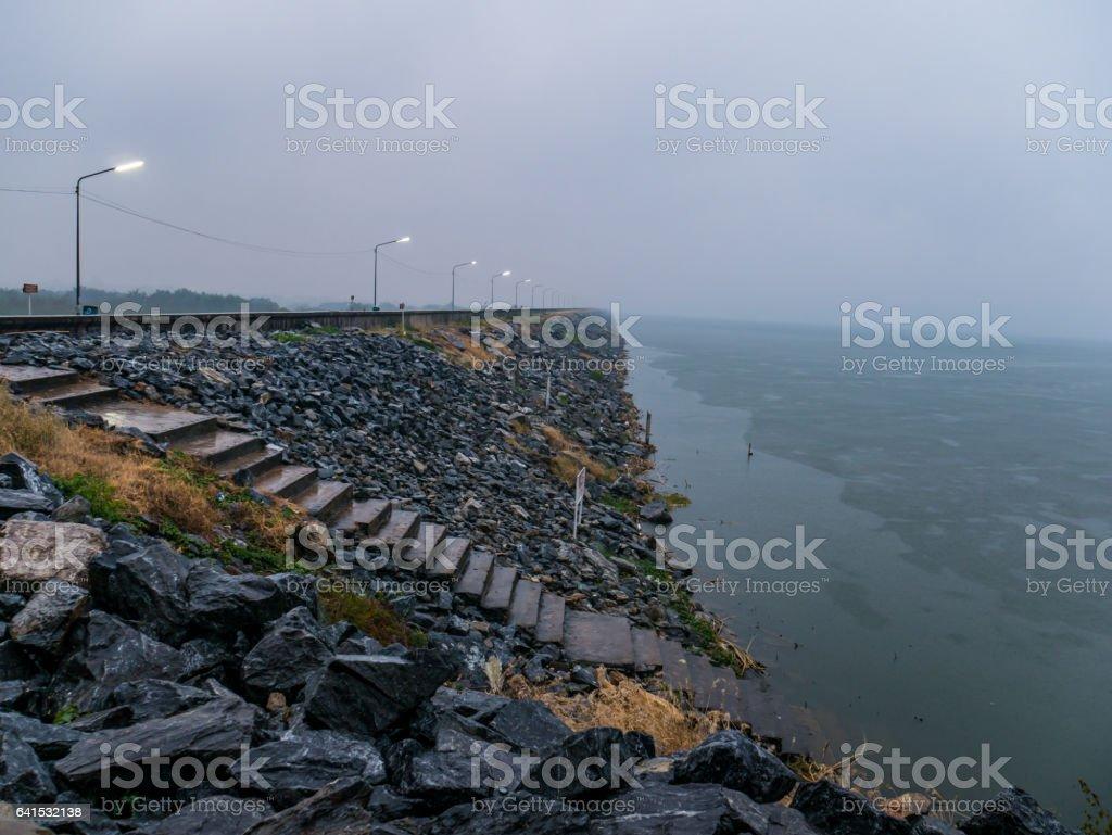 Landscrape view of reservoir with raining stock photo