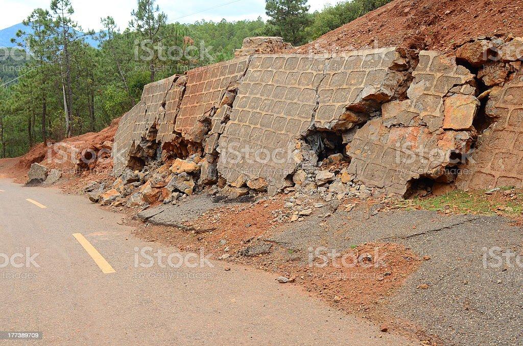 Landslide and broken road stock photo