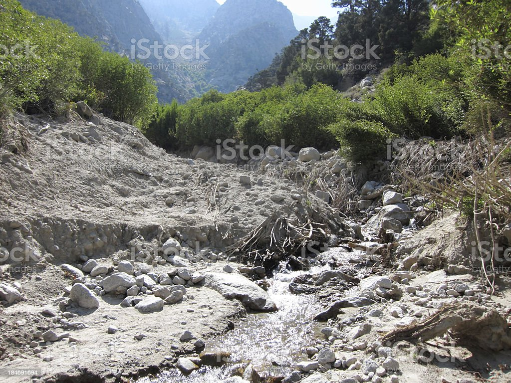 Landslide on the riverside stock photo