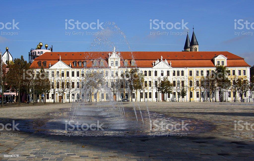 Landtagsgebäude auf dem Domplatz in Magdeburg stock photo