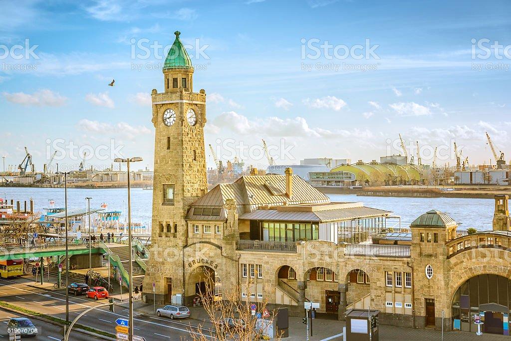 Landungsbruecken and the harbor in Hamburg, Germany stock photo