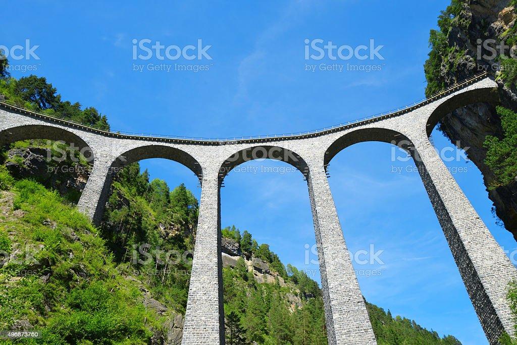 Landwasser viaduct in Filisur - Switzerland stock photo