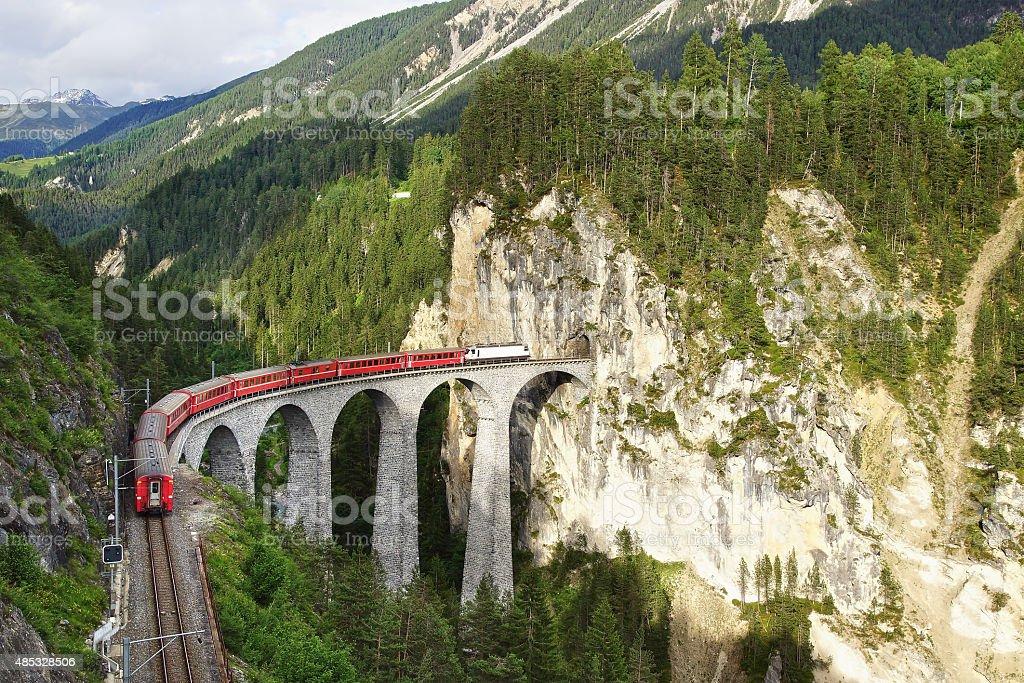 Landwasser Viaduct with train, Filisur, Switzerland stock photo