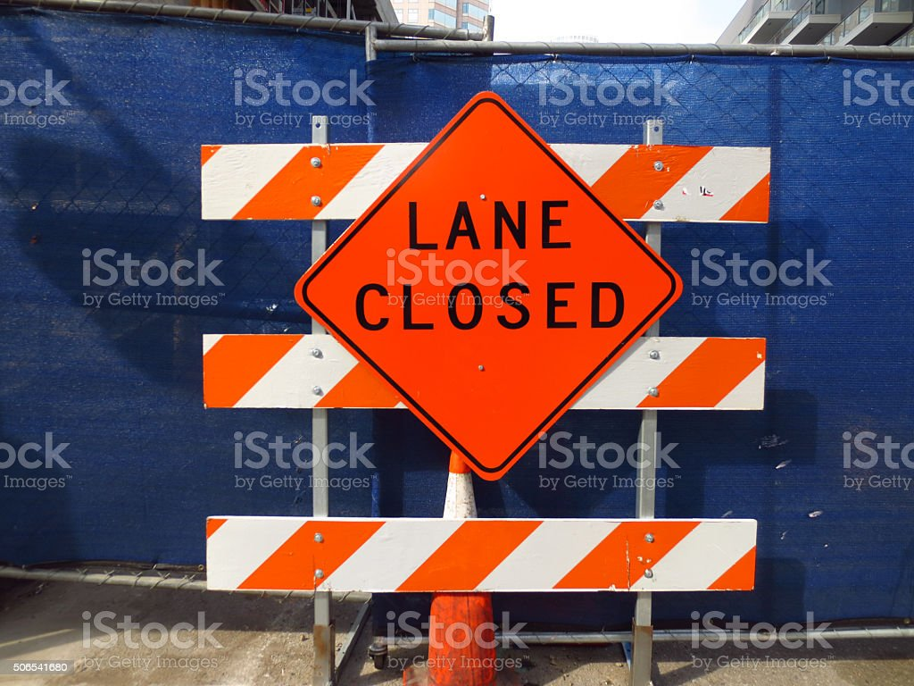 Lane Closed stock photo