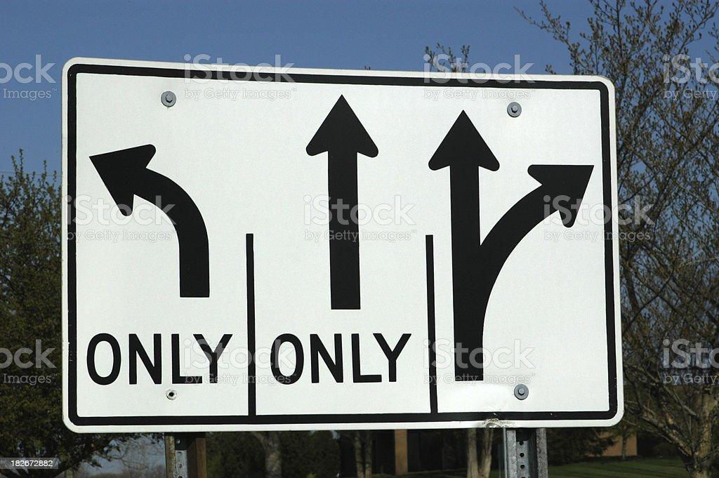 Lane direction sign royalty-free stock photo