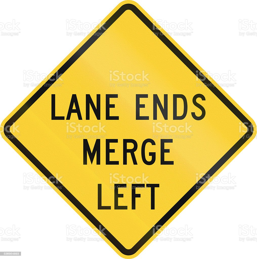 Lane Ends - Merge Left stock photo