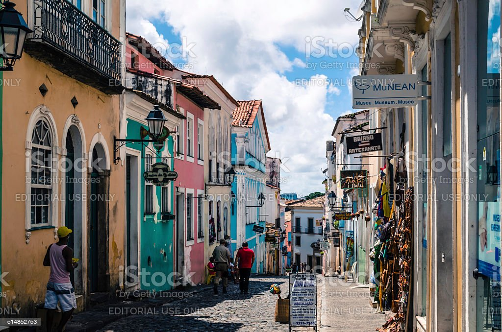 lane in historic pelourinho stock photo