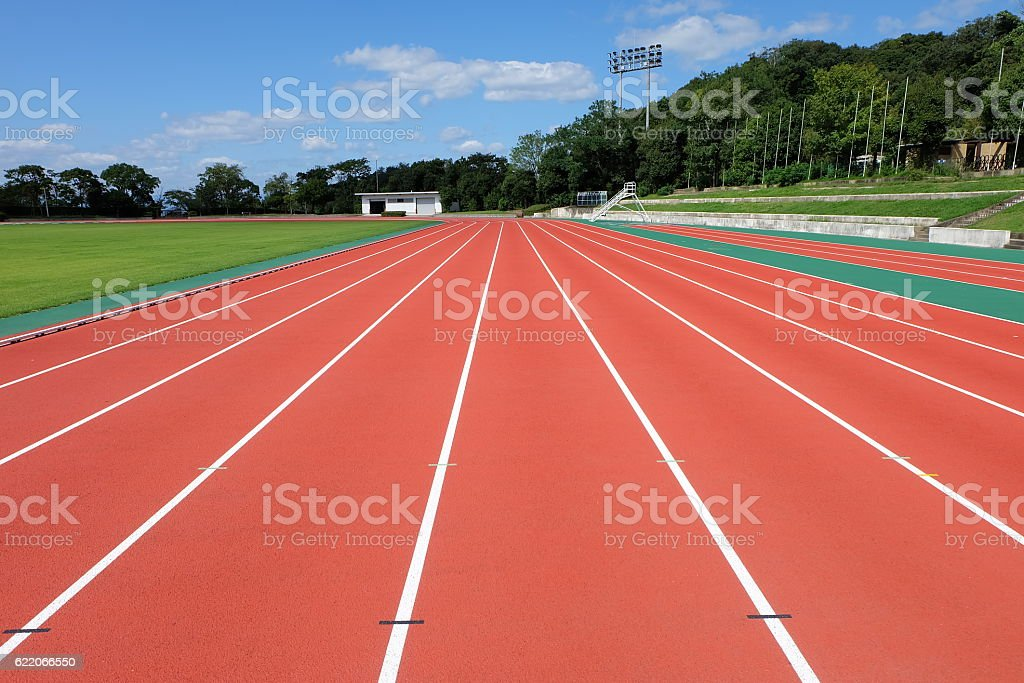 lane in stadium stock photo