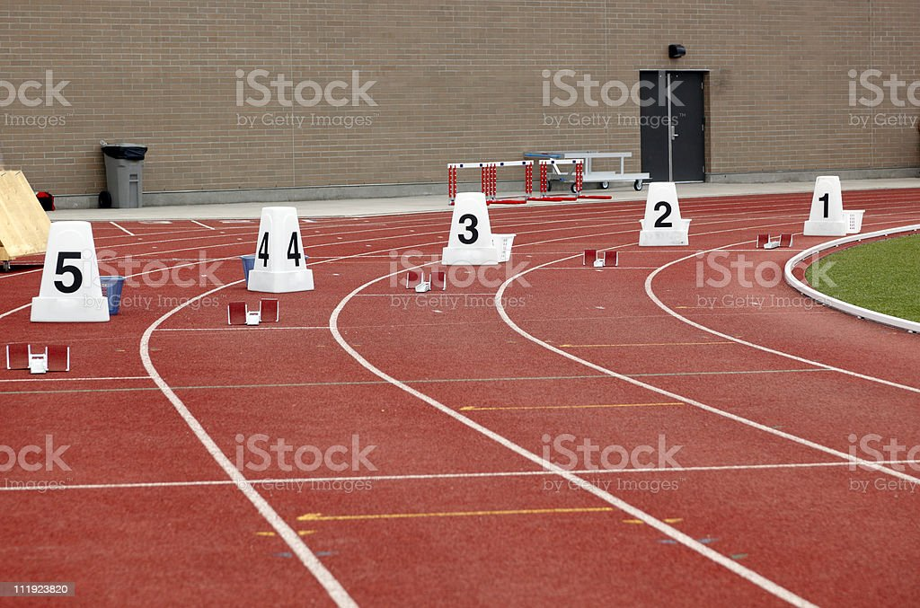 Lane Markers and Starting Blocks royalty-free stock photo