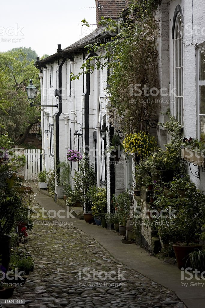 Lane of cottages stock photo