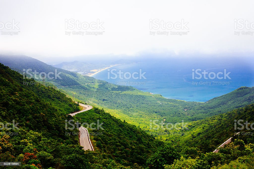 Lang Co beach from Hai Van pass, Hue, Viet Nam stock photo