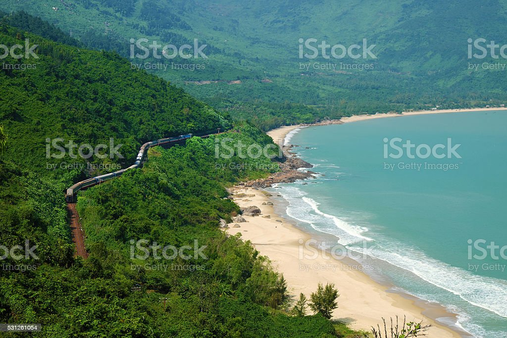 Lang Co beach, Hue, train, railway stock photo