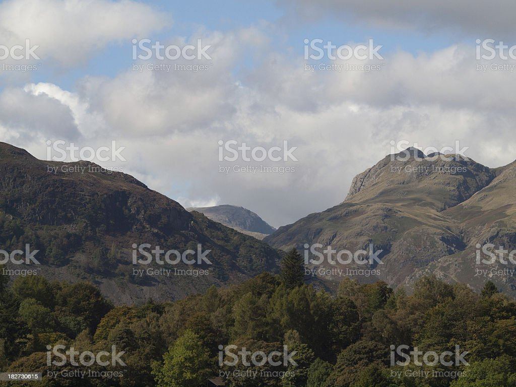 Langdale mountains and Elterwater in the lake District royalty-free stock photo