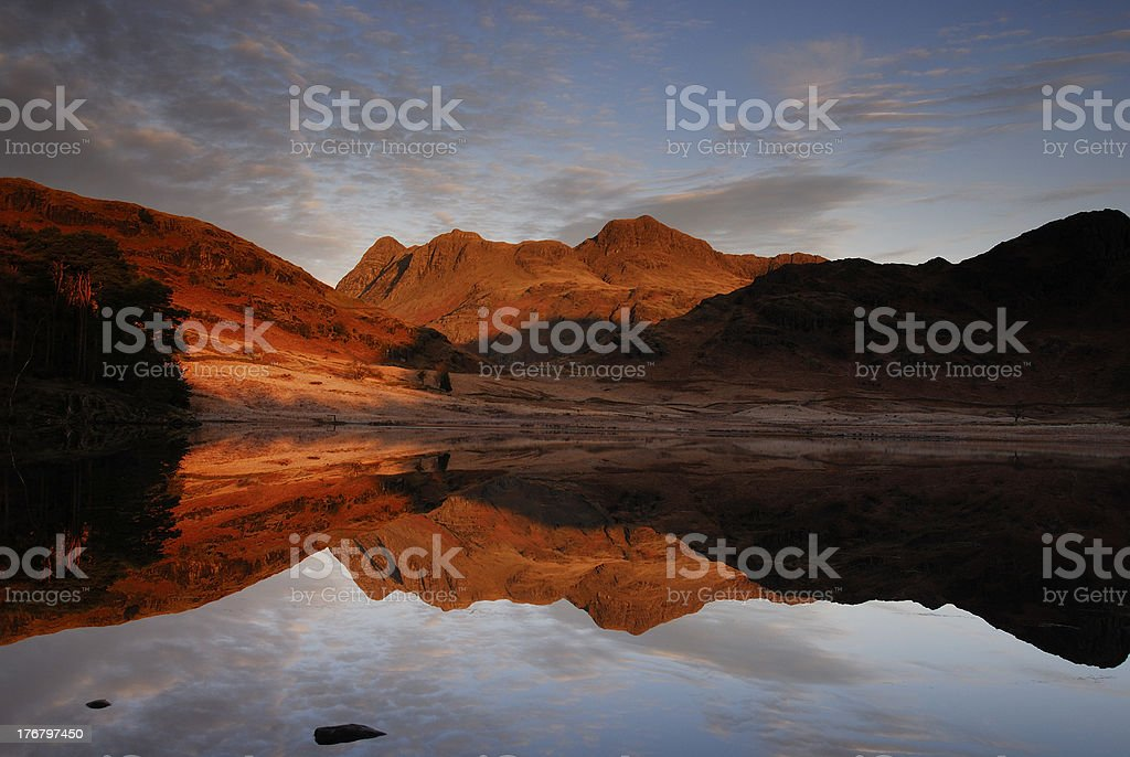Langdale Pikes and Blea Tarn in the English Lake District royalty-free stock photo