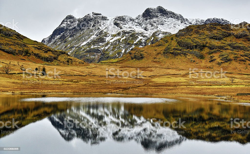 Langdale Pikes and Blea Tarn stock photo