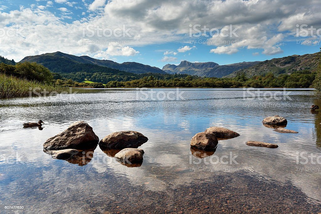 Langdale Pikes and Elterwater stock photo