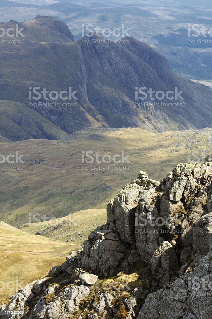 Langdale Pikes from Bowfell stock photo