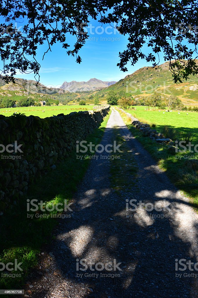 Langdale Pikes from Little Langdale stock photo