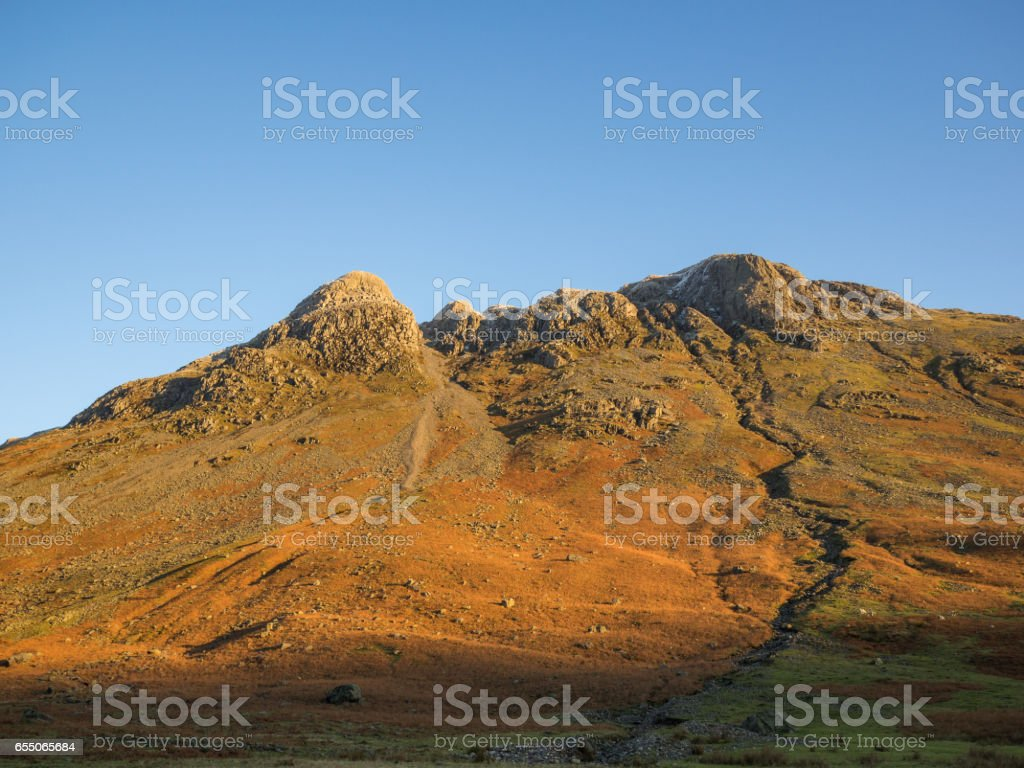 Langdale Pikes Lake District Cumbria in Morning sunlight stock photo
