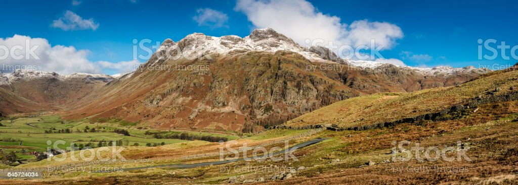 Langdale Pikes Panoramic In The Lake District. stock photo