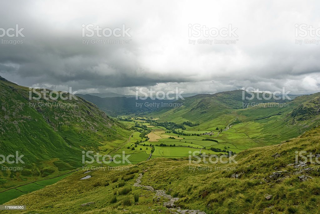 Langdale Valley in Clouds stock photo