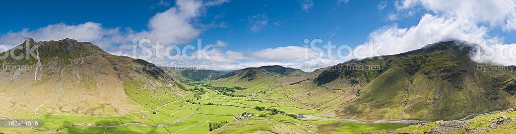 Langdale valley panorama mountain farms green pasture Lake District UK royalty-free stock photo
