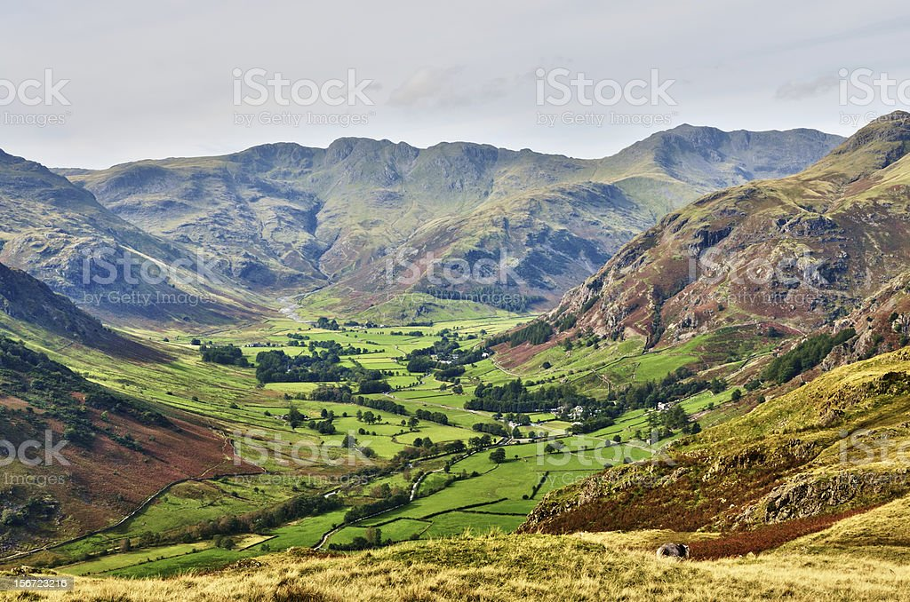 Langdale, with Bowfell and Crinkle Crags stock photo