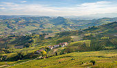 Langhe wineyards hills, Cuneo, Piedmont  Italy. Barolo, Barbaresco Dolcetto wines