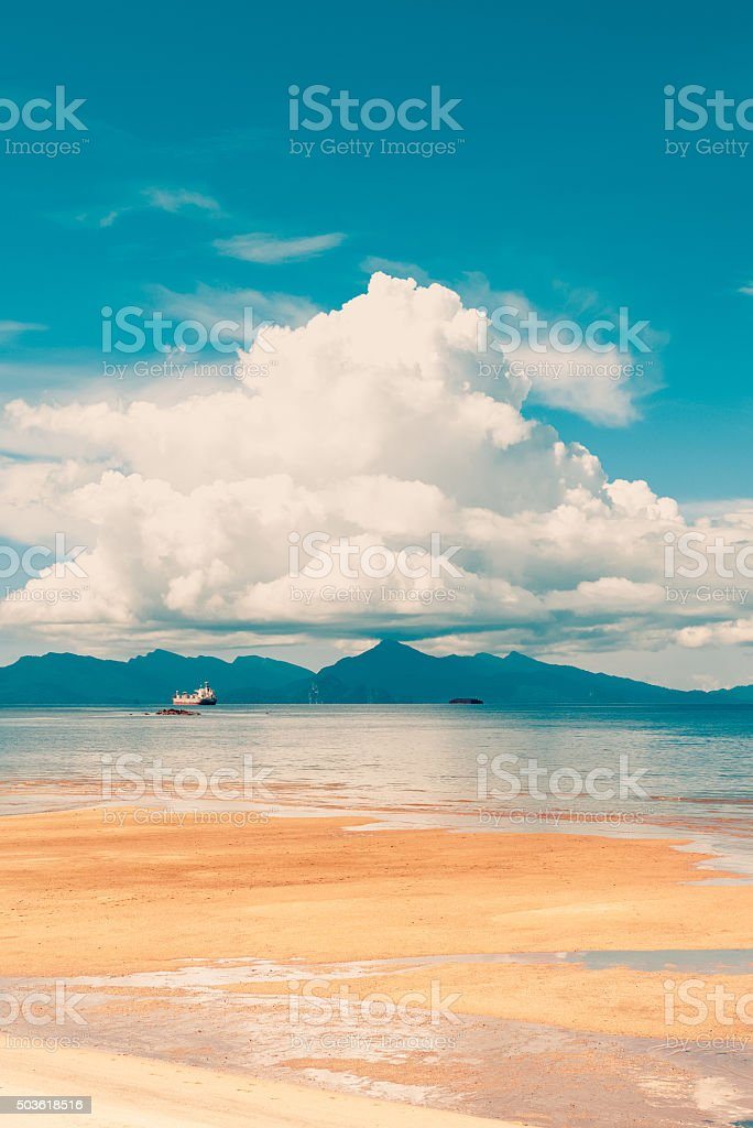 Langkawi beach low tide stock photo