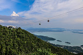 Langkawi Cable car with hills and sea in the background