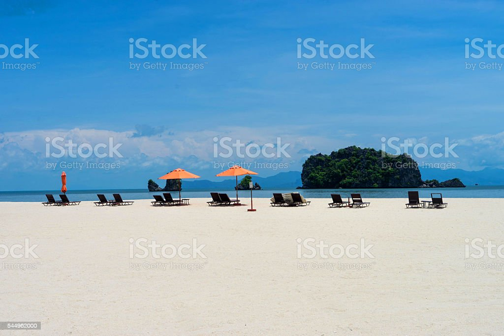 Langkawi Island, Malaysia, Holiday beach with sunbeds stock photo